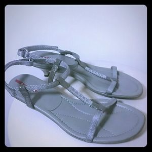 Prada Gray Logo Velcro strap low heel sandals
